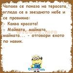 Чапаев се показа на терасата, вгледа се в звездното небе и се провикна: - Каква красота! - Майката, майката, майката... - отговори ехото по навик.