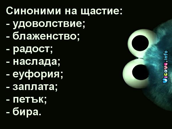 Синоними на щастие: - удоволствие; - блаженство; - радост; - наслада; - еуфория; - заплата; - петък; - бира.